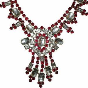 Red Czech Rhinestone Necklace $453.40 ON SALE
